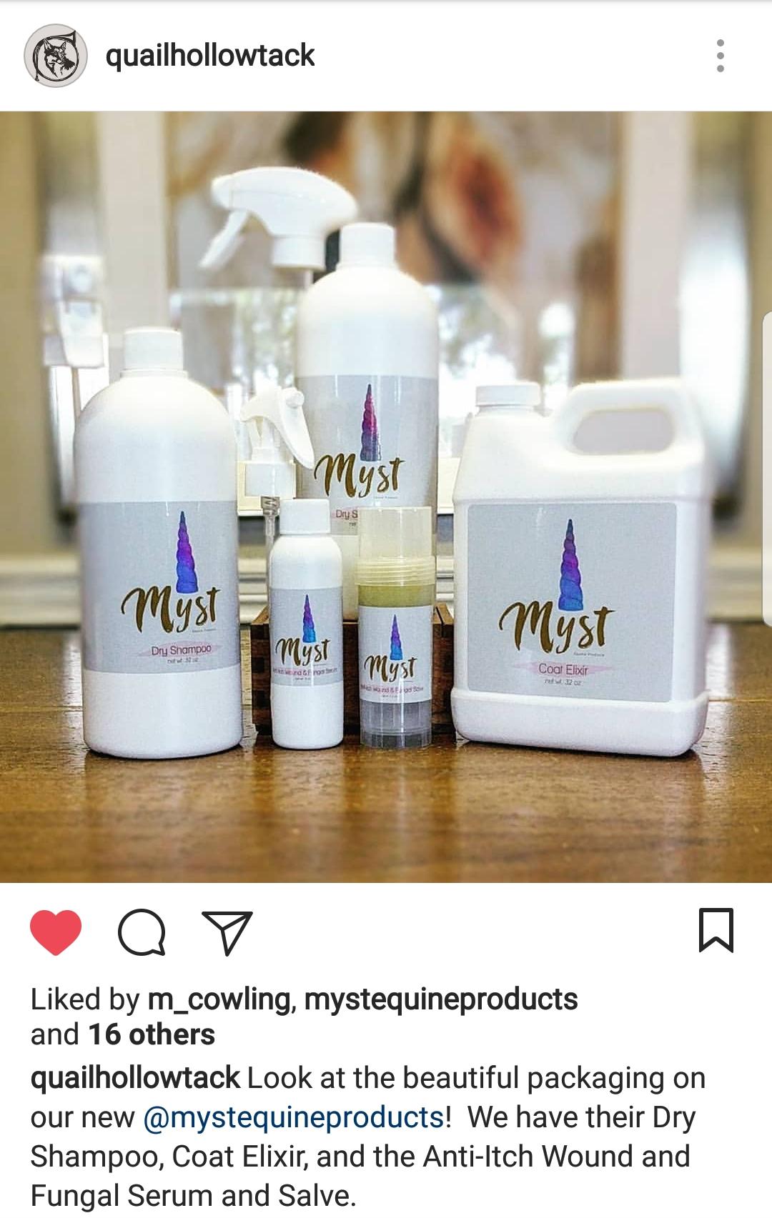 myst equine produts, myst dry shampoo