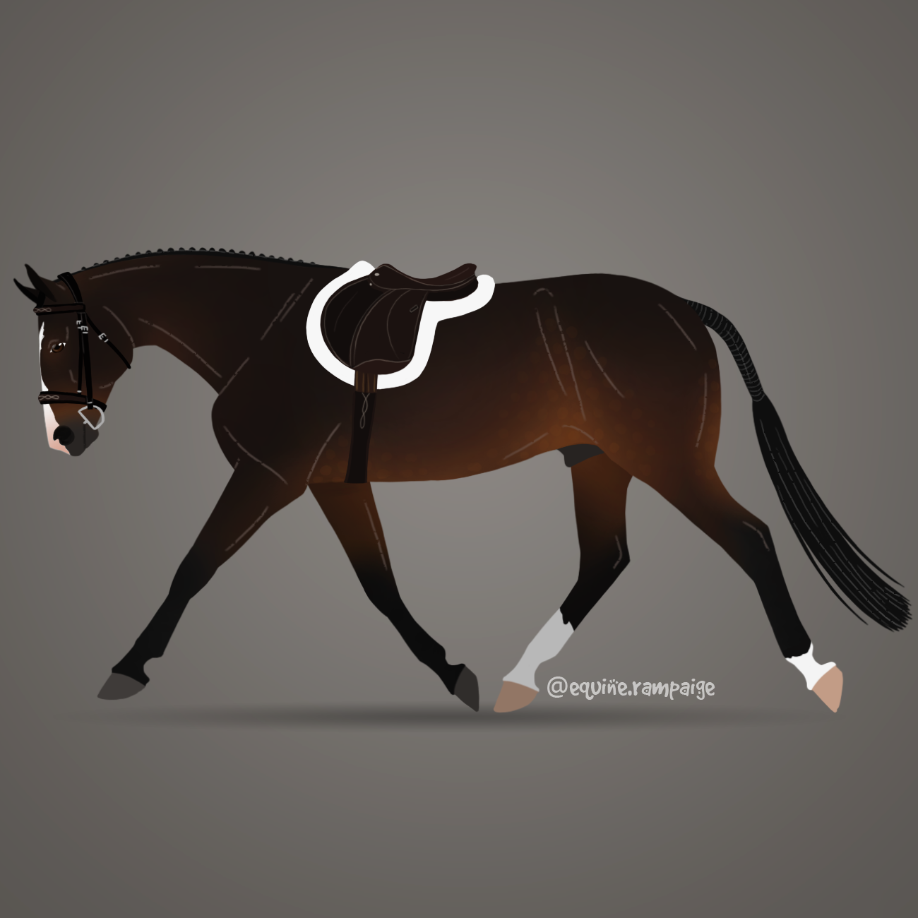 digital equine art hunky hanoverian